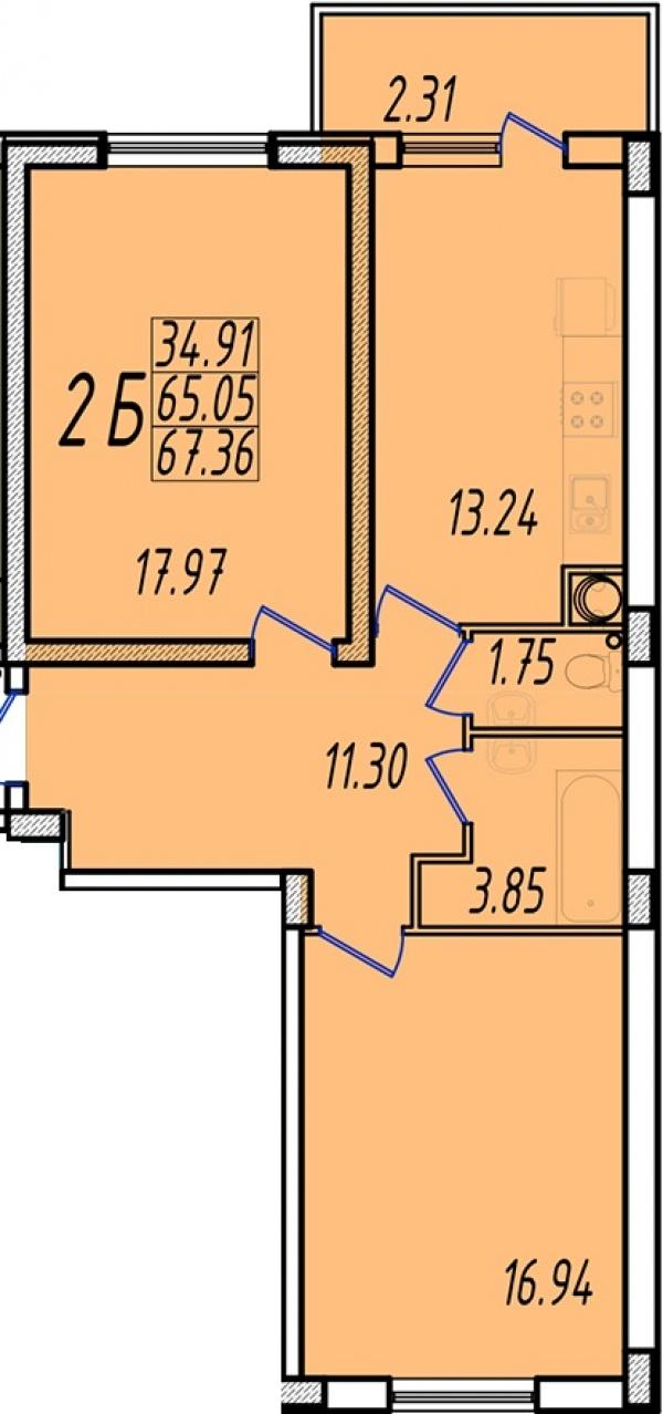 Планировки двухкомнатных квартир 67.79 м^2